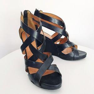 Pour La Victoire Tarissa Black Wedge Sandals Sz 10